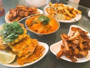 thai feast tinkerdash sweetcorn fritters butternut squash green bean curry