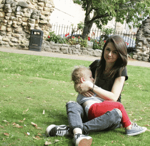 breastfeeding in a park
